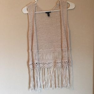 Knit and braided open front tank